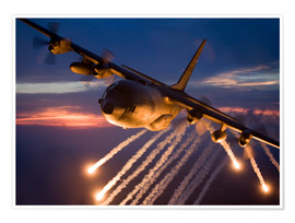 Póster C-130 Hercules releases flares