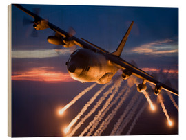 Cuadro de madera  C-130 Hercules releases flares - HIGH-G Productions