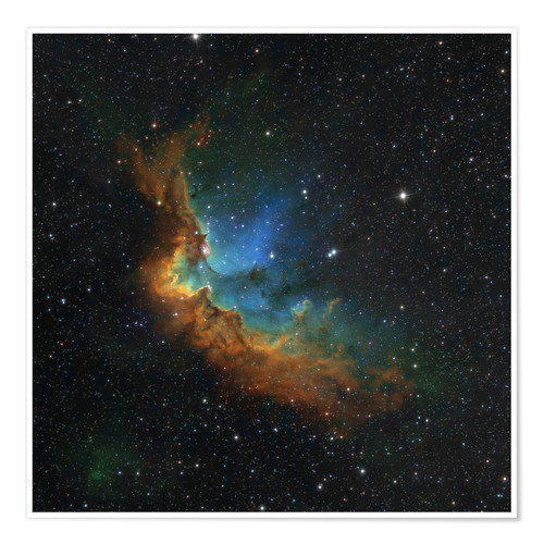 Póster NGC 7380 in the Hubble palette colors