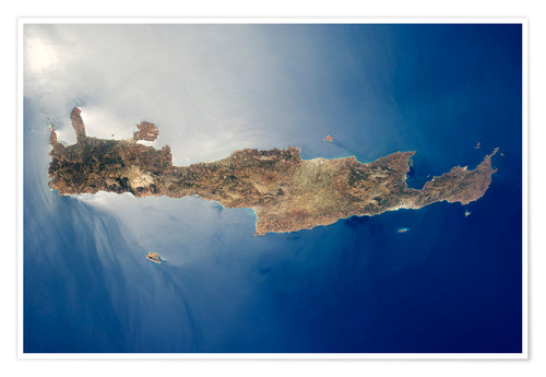 Póster View from space of the island of Crete