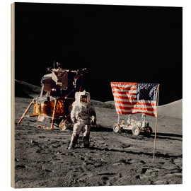 Madera  Apollo 17 astronaut stands near the United States flag - Stocktrek Images