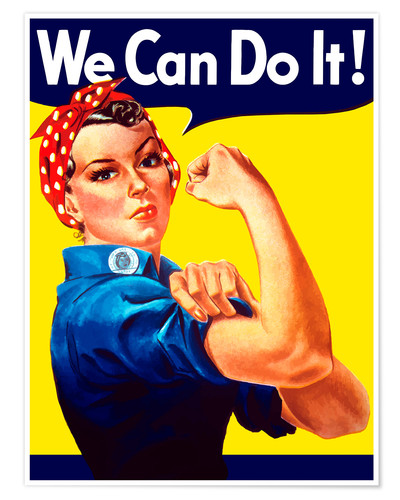 Póster Rosie The Riveter vintage war poster from World War Two