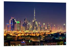 Cuadro de PVC  Dubai skyline at night - Stefan Becker