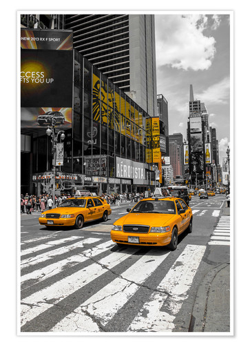 Póster Taxis amarillos en Time Square 2