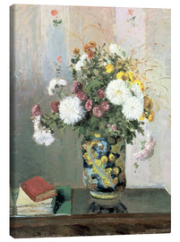 Lienzo  Bouquet of Flowers, Chrysanthemums in a Chinese Vase - Camille Pissarro