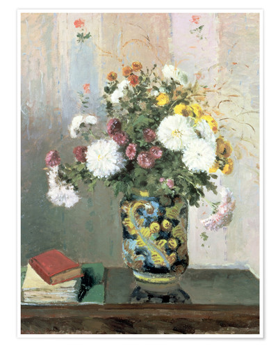 Póster Bouquet of Flowers, Chrysanthemums in a Chinese Vase