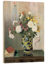 Cuadro de madera  Bouquet of Flowers, Chrysanthemums in a Chinese Vase - Camille Pissarro