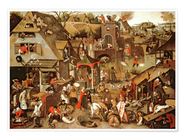 Póster Netherlandish Proverbs illustrated in a village landscape