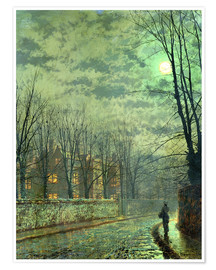 Póster  Going Home by Moonlight - John Atkinson Grimshaw