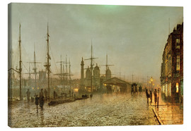 Lienzo  Hull Docks by Night - John Atkinson Grimshaw