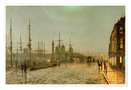 Póster  Hull Docks by Night - John Atkinson Grimshaw