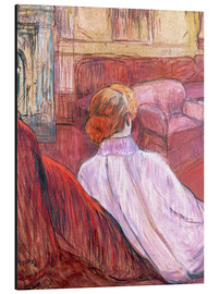 Cuadro de aluminio  Woman Seated on a Red Settee - Henri de Toulouse-Lautrec