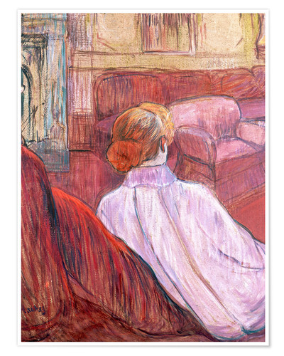 Póster Woman Seated on a Red Settee