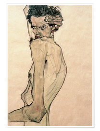 Póster  Egon Schiele with arms above the head - Egon Schiele