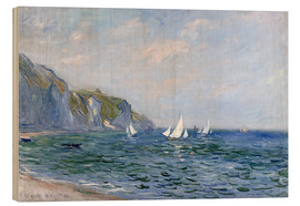 Madera  Rocks and sailing boats in Pourville - Claude Monet