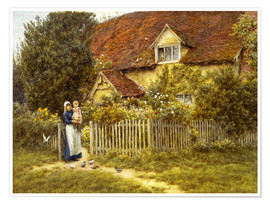 Póster  Mother and child on lodge - Helen Allingham