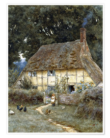 Póster  On the Brook Road, near Witley - Helen Allingham