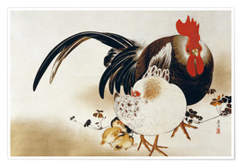 Póster  Cockerel, hen and chicks - Shibata Zeshin