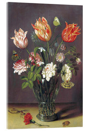 Cuadro de metacrilato  Tulips with other Flowers in a Glass on a Table - Jan Brueghel d.Ä.