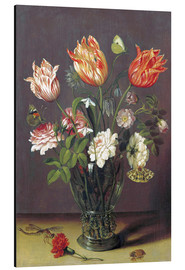 Cuadro de aluminio  Tulips with other Flowers in a Glass on a Table - Jan Brueghel d.Ä.