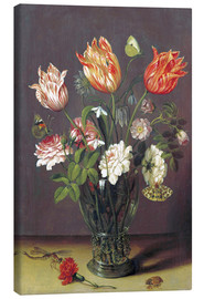 Lienzo  Tulips with other Flowers in a Glass on a Table - Jan Brueghel d.Ä.