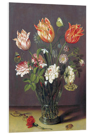 Cuadro de PVC  Tulips with other Flowers in a Glass on a Table - Jan Brueghel d.Ä.
