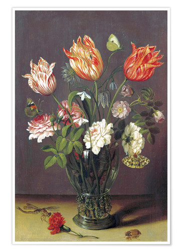 Póster Tulips with other Flowers in a Glass on a Table