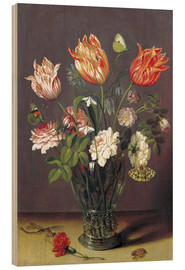 Madera  Tulips with other Flowers in a Glass on a Table - Jan Brueghel d.Ä.
