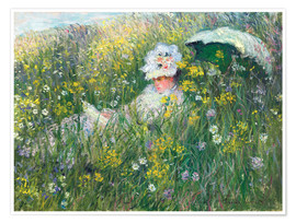 Póster  In the Meadow - Claude Monet