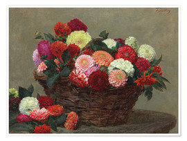 Póster Basket of dahlias, 1893