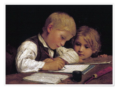 Póster Boy writing with his sister