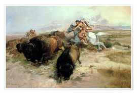 Póster  Buffalo Hunt, 1897 - Charles Marion Russell