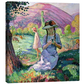 Lienzo  Young Girl picking Flowers, 1910 - Henri Lebasque