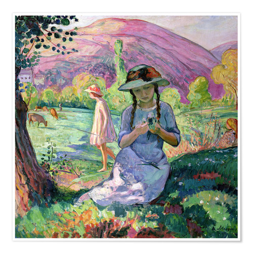 Póster Young Girl picking Flowers, 1910