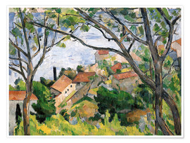 Póster  View of L'Estaque Through the Trees - Paul Cézanne