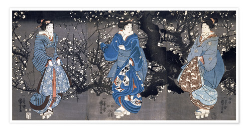 Póster An oban triptych depicting a Nocturnal Scene with three Bijin
