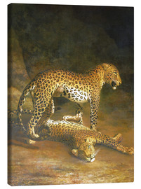 Lienzo  Two Leopards lying in the Exeter Exchange - Jacques Laurent Agasse