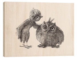 Cuadro de madera  Two Owls - Stan & Oliver - Stefan Kahlhammer