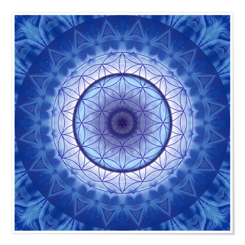 Póster Flower of life blue