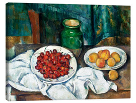 Lienzo  Cherries and peaches - Paul Cézanne