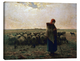 Lienzo  The shepherdess - Jean-François Millet