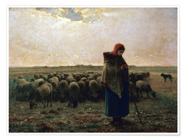 Póster  The shepherdess - Jean-François Millet