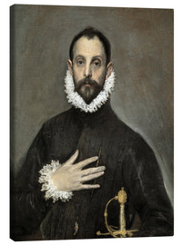 Lienzo  The Caballero with his Hand on His Heart - Dominikos Theotokopoulos (El Greco)