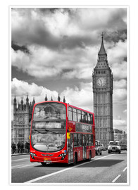 Póster  Big Ben and Red Bus - Melanie Viola