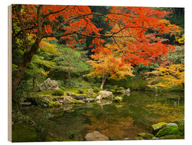 Cuadro de madera  Japanese garden in autumn with red maple tree - Jan Christopher Becke