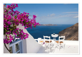 Póster  Hotel terrace with pink flowers and stunning views - Bill Bachmann