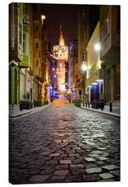 Lienzo  The famous Galata-Tower at night (Istanbul/Turkey) - gn fotografie