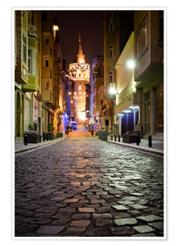 Póster  The famous Galata-Tower at night (Istanbul/Turkey) - gn fotografie