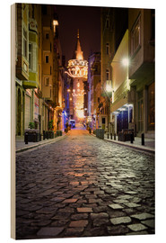 Cuadro de madera  The famous Galata-Tower at night (Istanbul/Turkey) - gn fotografie