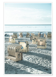 Póster beach chairs at the beach in Duhnen (North sea/Germany)